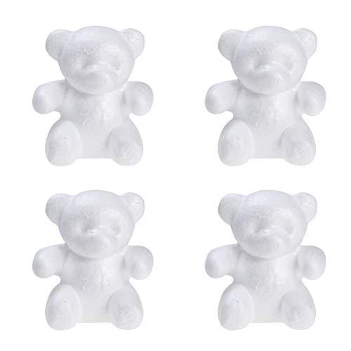 PRETYZOOOM, 4 pezzi in polistirolo a forma di orso bianco in schiuma per modellare fiori fai da te, Arrangiare, orsetto rosa, 10 x 15 cm