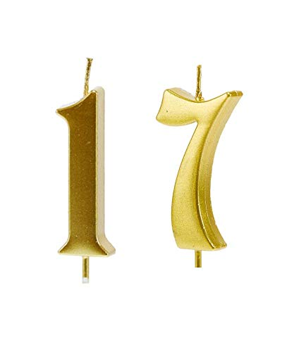 MMJJ Gold 17th Birthday Candles, Number 17 Cake Topper for Birthday Decorations
