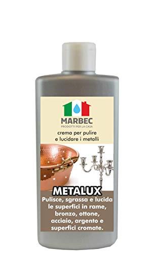 Marbec - METALUX 250GR | Crema lucidante per Rame, Bronzo, Ottone, Acciaio, Cromo, Argento.