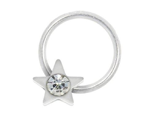 Nagelpiercing Stern Silber Mit Stein Klar - 925 Sterling Silber - Nailart Finger Fuß