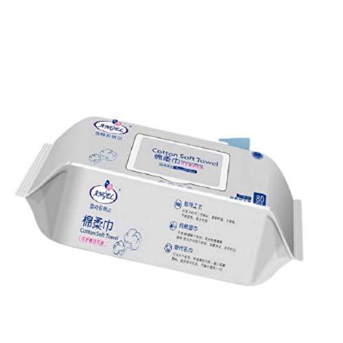 N-B Toallitas de algodón Puro para bebés Patrón de Perlas espesas 80 Bombeo con Tapa Toallitas húmedas Especiales para la Boca de los niños