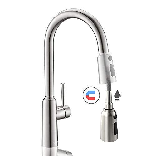 OUEN Kitchen Faucet, Kitchen Sink Faucet with Magnetic Docking Sprayer, Single Handle Fingerprint Resistant Sink Faucet Brushed Nickel