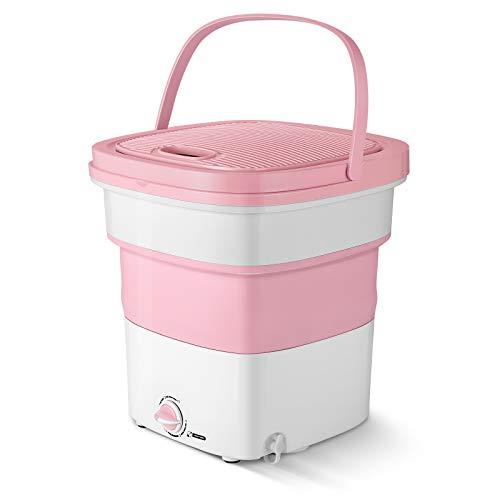 Lavadora plegable, portátil plegable, mini lavadora plegable, de alta potencia, lavadora plegable con mayor capacidad de lavado para viajes, camping, viajes de negocios (300W,rosa)