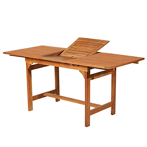Outsunny Acacia Wood Slat Rectangular Extendable Outdoor Dining Table