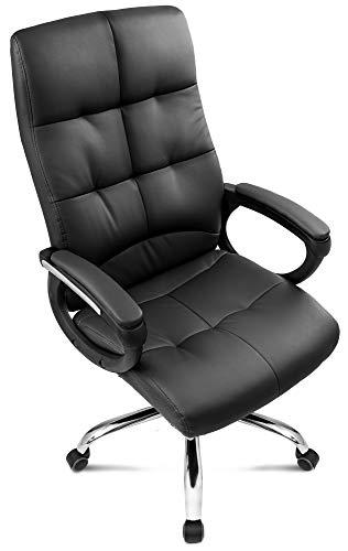 DiVolio Bürostuhl Manager Schreibtischstuhl Chefsessel Drehstuhl Bequeme Rückenlehne Armlehnen Belastbarkeit bis 150kg (schwarz)