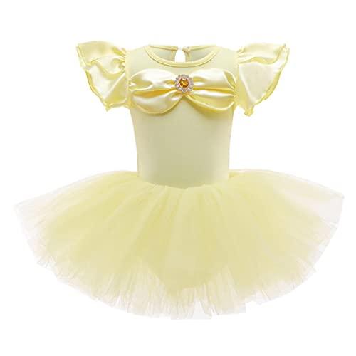 Lito Angels Disfraz Princesa Beldad Ballet Tutu para Niñas, Vestido Maillot de Ballet con Falda de Tul, Traje Leotardo Body de Danza, Talla 3 4 Años
