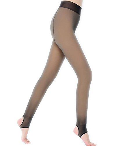 JIAHSA Damen High Waisted Anti-Haken Seide wirklich transparente Leggings Nylon Gefüttert Leggings Thick Warm Strumpfhosen, Hautfarbe, All Code