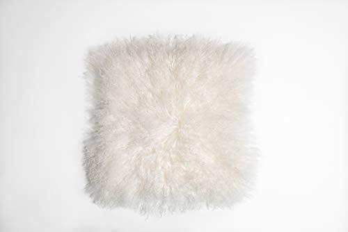 Naturally Sheepskins Echter 100% natürliches mongolisches Lammfell Kissenbezug, 40 x 40 cm, Elfenbein