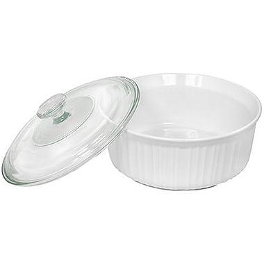 CorningWare French White 2-1/2-Quart Round Casserole Dish with Glass Cover