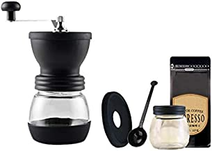 Varadyle Coffee Grinder Portable Hand with Adjustable Set Conical Ceramic Burr Grinder Steel Coffee Mill for Espresso