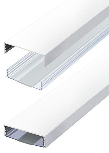 Flacher Design Aluminium Kabelkanal lackiert in Mattweiss selbstklebend 50 mm x 15 mm Alunovo Kabelschacht Leitungskanal Installationskanal (Länge: 50cm)