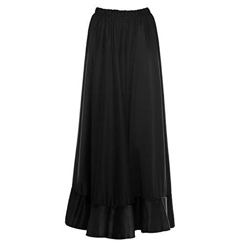 Falda Flamenca Mujer Larga Negra Volante Simple [Tallas Adulto S a XXL]Talla XXL Ensayo Baile Danza Disfraz