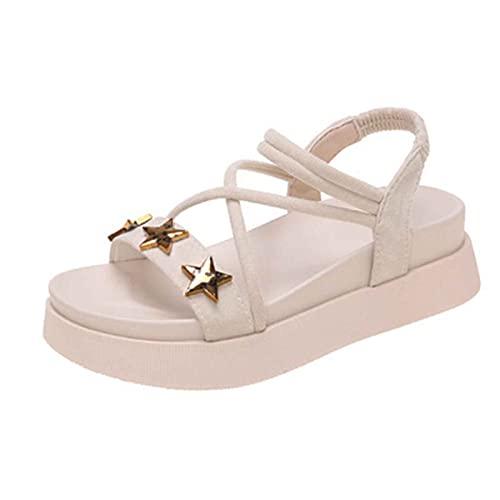 Sandalias con Punta Abierta Mujer Verano Planas Cómodo Casual Zapatos de Playa Exterior Senderismo Antideslizante Respirable Sandalias de Playa PU Cuero Fondo Grueso Shoes