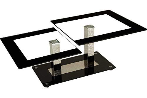 ** Restposten-WERKSVERKAUF ** Man-2 Couchtisch mit Edelstahlsäulen. Tischplatten mit dekorativem Schwarzrand. Sockelplatte in Schwarzglas Klarglas Größe: 120 x 65 cm Rechteckig Höhe: 44cm