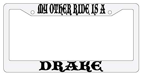 License Plate Frames, My Other Ride Is A Drake Silver Metal License Plate Frame Auto Fantasy Universal Car License Plate Bracket Holder Rust-Proof Rattle-Proof Weather-Proof 15x30cm