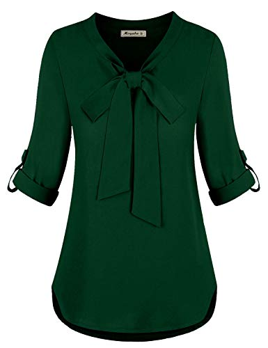 Moyabo Women Shirts and Blouses Bow Tie Neck 3/4 Sleeves Office Work Chiffon Blouse Shirts Dark Green X-Large