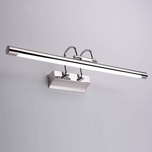 CCLLA Luces LED para Espejo de baño, Aplique Moderno de Pared de Acero Inoxidable con eslabón Giratorio 180 & deg;Cabezal de lámpara, Temperatura de 3 Colores, luz de Maquillaje Plateada para dor