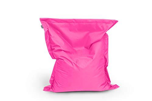BuBiBag zitzak, 150 x 100 cm, ca. 340 liter, met vulling, zitkussen, rechthoekig, vloerkussen, kussen, fauteuil 150 x 100 cm roze