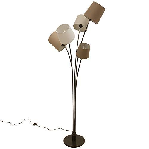 Design Stehleuchte LEVELS weiß beige braun mit 5 Leinen Schirmen Stehlampe Wohnzimmerleuchte Leselampe