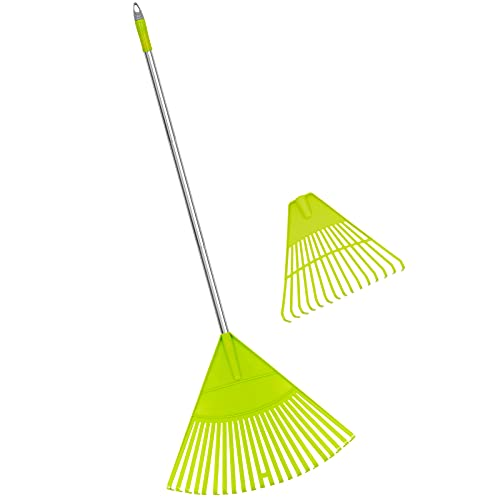 Colwelt Plastic Leaf Rake Set, Garden Poly Shrub Rake with 56'' Lightweight Stainless Steel Handle, Durable Plastic Head 22Tines & 15Tines, Garden Rake Leaf to Collect Loose Debris Among Plants, Lawns