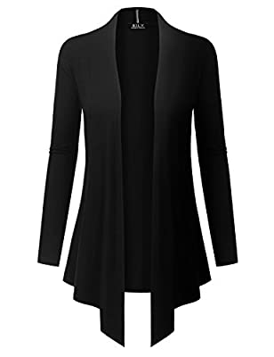 BH B.I.L.Y USA Women's Open Front Drape Hem Lightweight Cardigan with Pockets Black XX-Large