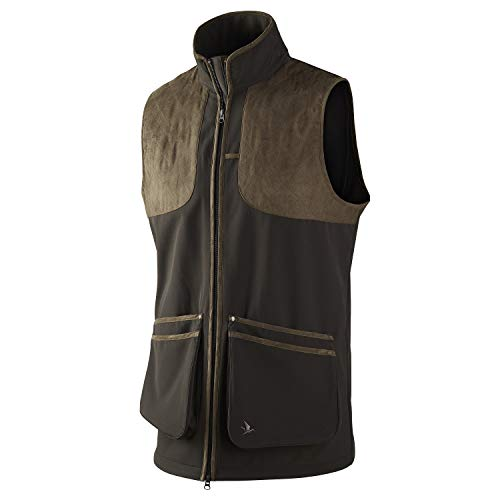 Seeland Winster - Chaleco de Caza para Hombre (Softshell, Impermeable y Transpirable, con Ribete de Piel), Color Negro