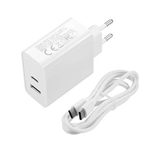 Cargador USB C de 45 W PD tipo C + cargador USB A PD tipo C + cargador USB A PD con cable PD, fuente de alimentación USB-C compatible con MacBook, iPad, iPhone, Galaxy, Nintendo Switch, etc. (blanco)