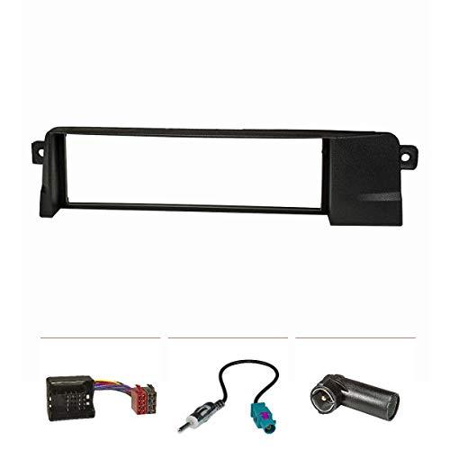 tomzz Audio 2404-014 Radioblende Set HQ-Optik Profi-Version pour BMW 3er e46 Noir avec Adaptateur Quadlock iso, Fakra Antennaadapter din iso