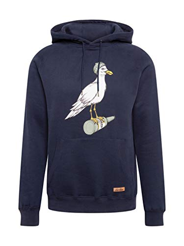 derbe Herren Kapuzenpullover Storm Seagull dunkelblau Möwe - L