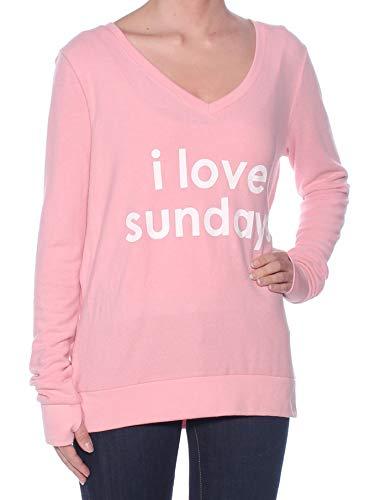 Peace Love World Womens Sundays Slogan V-Neck Sweatshirt (Light Pink, S)