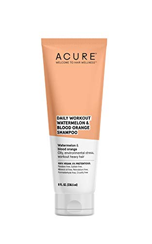 ACURE Daily Workout Watermelon Shampoo | 100% Vegan | For Oily, Environmental Stressed, Workout Heavy Hair | Watermelon & Blood Orange - Gentle Everyday Formula | 8 Fl Oz