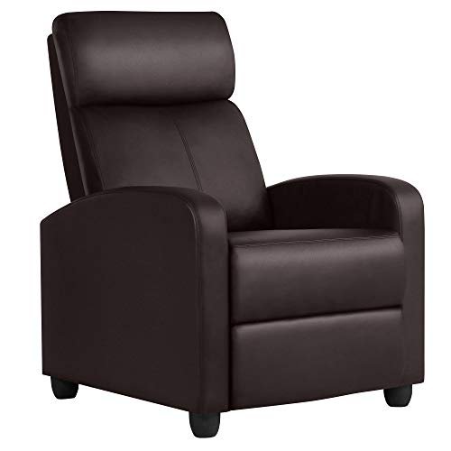 Yaheetech Liegestuhl, gepolsterter Sitz, PU-Leder, Sofa, Lounge, Wohnzimmer, Theater, Sitzgelegenheit, verstellbare Beinstütze und Liegefunktion Large braun