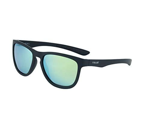 Mawaii Sunglasses Eclipse 2.0 - polarisierte Sonnenbrille für Damen und Herren, Sportsonnenbrille, matt schwarzer Rahmen und goldene Gläser