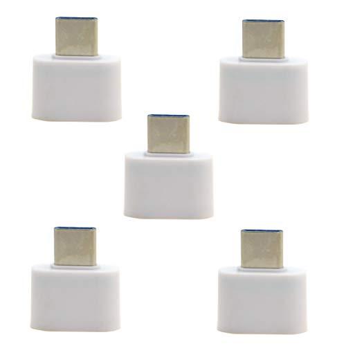 USB-C auf USB 2.0 OTG Adapter für Handy, Tablet, USB-Kabel, Flash Disk, Maus und Laptop, Weiß, 5 Stück