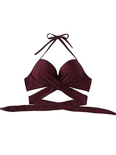 DIDK Damen Bade Top Neckholder Push Up Bikini Strandkleidung Strandmode Bikini Top Einfarbig V Ausschnitt Wickel Oberteil Bordeaux-Top S