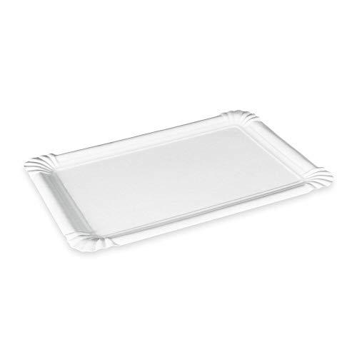 1-PACK Pappteller Kuchenteller Imbissteller Teller Recycling 17 x 25 cm weiß, 100 Stück