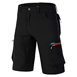 MMSM MTB Hose Herren Fahrradhose, Schnelltrocknende MTB Shorts Herren Mountainbike Hose Baggy Bike Shorts, Atmungsaktiv Radhose mit Verstellbaren Klettverschlüssen Black+Red-XXXXL