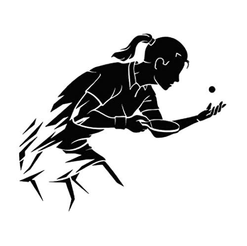 Cbhsjinsuxha 4 Uds Pegatinas de Coche 16.6 M * 14.2 CM Tenis de Mesa Ping Pong Chica Deporte Vinilo calcomanía Cuerpo de Coche decoración Pegatinas de Coche Fresco