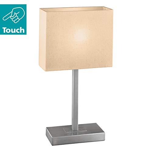 Eglo Tischleuchte Modell Pueblo 1 / in nickelmattem Stahl / Schirm in Textil beige / HV 1 x E14 max. 60W / exklusiv Leuchtmittel / Touch-Funktion / 26 x 10 x 48 cm / Sockelplatte 20 x 10 cm 87598