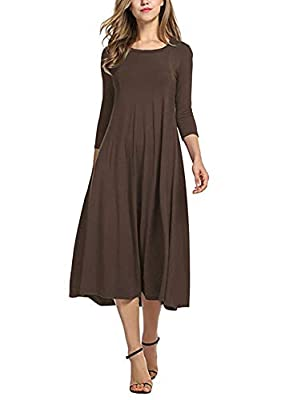 Ladybranch Women's 3/4 Sleeves Solid Color Casual Long Dress A-Line Loose Pleated Midi Dress