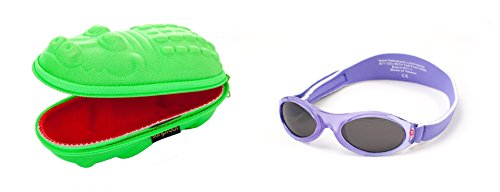 Yoccoes Babybanz 0 bis 2 Monate Sonnenbrille, Lila Blume und ein Yoccoes Sonnenbrille Fall - Grünes Krok
