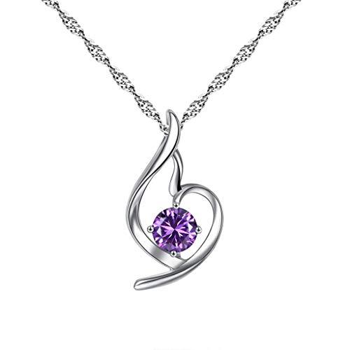 Halskette Frauen Kupfer Inlay Zirkon Feminine Engel Kristall Halskette Schmuck (Lila)