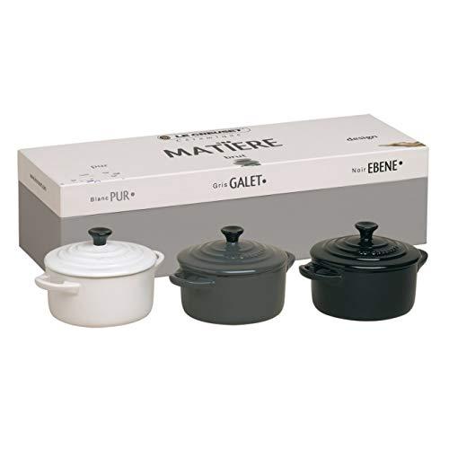Le Creuset, Set de 3 Mini-Cocottes Rondes, 200 ml, 10 x 5 cm, Céramique, Noir/Gris/Blanc