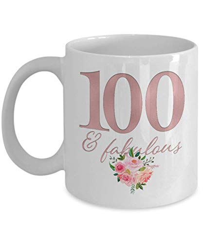 100th Birthday Present for Her - 100 and Fabulous Coffee Mug for Women - Bday Happy Birthday Est 1920 - Present Ideas for Turning 100 Yr Old - Awesome Best Unique Party Decorations - 11oz