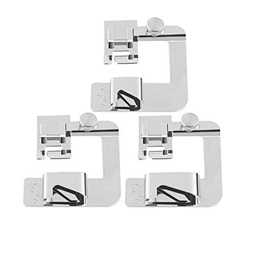 3 piezas (4/8 pulgadas, 6/8 pulgadas, 8/8 pulgadas) Juego de prensatelas para dobladillo ancho y rodillo de prensatelas con dobladillo ancho Para para máquina de coser de caña baja.