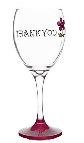 Memories-Like-These Verre à vin Motif Thank You peint à la main Rose