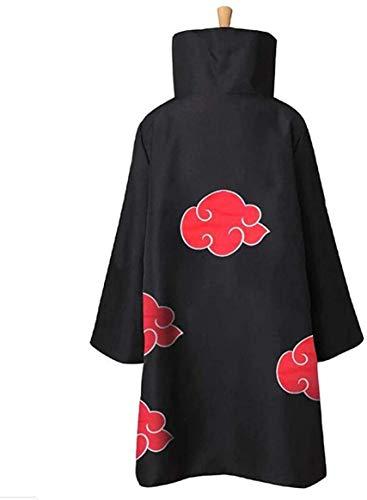 KuKiee Unisex Long Ninja Robe Akatsuki Cloak Halloween Cosplay Costume Uniform (Small, Stand Collar Cloak)