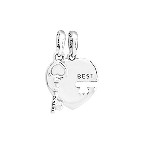 Pandora 925 Sterling Silver DIY Jewelry Charmbeads mejores amigos encantos de la llave del corazón pulseras en forma de joyería femenina