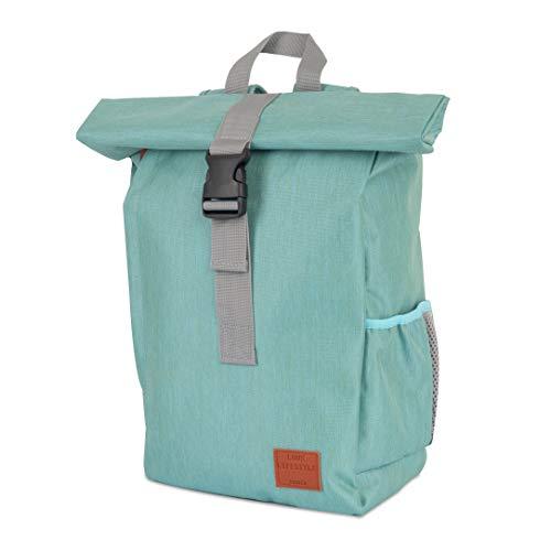 LUUK LIFESTYLE Wasserabweisender Roll-Top Rucksack, Vintage Rucksack, City Rucksack, Tagesrucksack, Schulrucksack, Daypack für Studenten, Reise, Laptop, grün, türkis