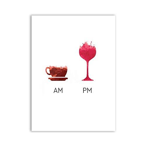 Funny wine market menos quejas más cartel de vino impresión de arte en lienzo, cuadro de pared de vino humorístico pintura en lienzo arte de la barra sin marco pintura decorativa en lienzo K97 50x70cm